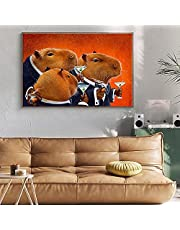 Capybara Club Canvas Painting Abstract Animals Posters and Prints Funny Wall Art Pictures for Living Room Home Decoration Unframed