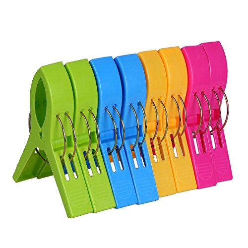 Ecrocy 8 Pack Beach Towel Clips in Bright Colors - Jumbo Size- Keep Your Towel From Blowing Away,clothes Lines