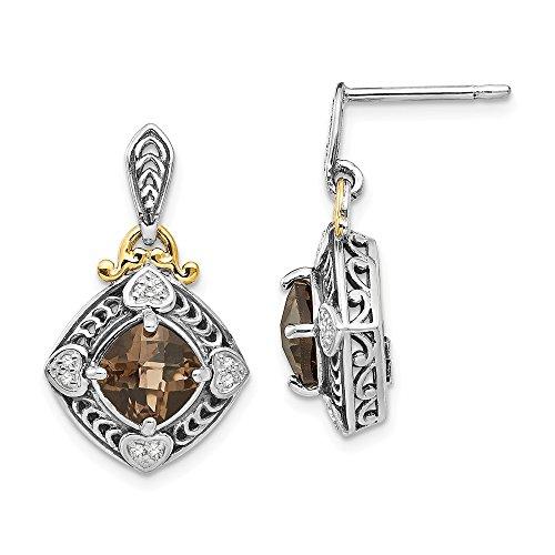 925 Sterling Silver 14k Diamond Smoky Quartz Post Stud Earrings Drop Dangle Fine Jewelry Gifts For Women For Her