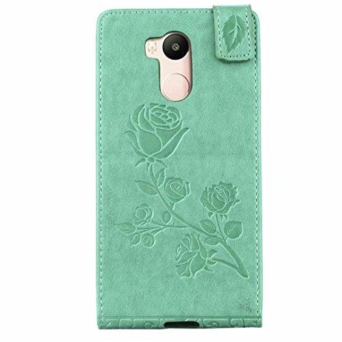 YHUISEN Redmi 4 Prime Caso, patrón de flores en relieve Rose Vertical Flip caja de cuero con ranura para tarjeta Xiaomi Redmi 4S / Redmi 4 Prime ( Color : Gray ) Green