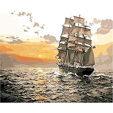 DIY Oil Painting Paint By Numbers Drawing On Canvas for Adults Sailing Boat