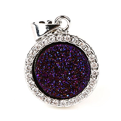 Round Agate Levelback Agate Quartz Pendant Gold Silver Plated Geode Druzy Gemstone Jewelry (silver-plated-base-purple)