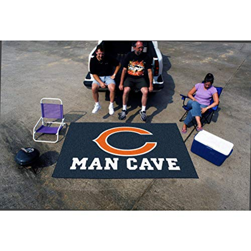 - 5'x8' NFL Bears Mat Sports Football Area Rug Team Logo Printed Large Mat Floor Carpet Bedroom Living Room Tailgate Man Cave Home Decor Athletic Game Fans Gift Non-Skid Backing Soft Nylon, Blue