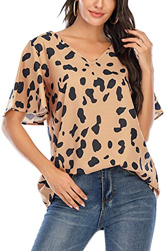 BABEIYXM Women's V Neck Chiffon Blouses Casaul Batwing Sleeve Floral Print Tops Flounce Cute Loose Shirts Leopard M