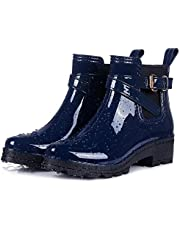 Smiry Women's Short Rain Boots Glossy Waterproof Platform Slip On Ankle Boots Elastic Chelsea Booties