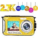 Underwater Camera Waterproof Camera Full HD 2.7K 48MP Selfie Dual Screens Waterproof Digital Camera 16X Digital Zoom Underwater Digital Camera for Snorkeling (Yellow) (2.7k Yellow)