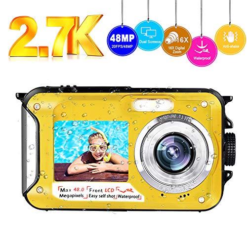 Underwater Camera Waterproof Camera Full HD 2.7K 48MP Selfie Dual Screens Waterproof Digital Camera 16X Digital Zoom Underwater Digital Camera for Snorkeling (A9)