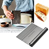 New Professional Stainless Steel Pizza Dough Scraper Cutter Kitchen Flour Pastry Cake Tool Scale 6 x 4 inch, Silver