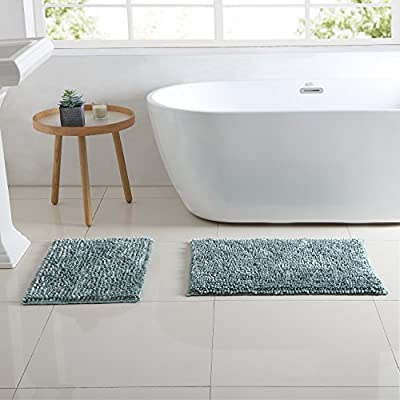"Hudson & Essex Chenille Noodle Bath Rug: Iridescent Turquoise Non Slip Bath Mat Design (20"" x 30"" inch) - Luxurious: Rug shows Luminous Colors that seem to change when seen from different angles: Turquoise, Aqua Blue, Seafoam Green. Silky Soft Microfiber Chenille: Material adds a touch of the Spa to your bathroom! Easy Care: Machine Washable - bathroom-linens, bathroom, bath-mats - 51HAL5 ZZgL. SS400  -"