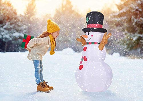 Phoenixreal 5 Foot Christmas Inflatables Snowman with Hat, Airblown Inflatable Snowman with Branch Hands, Lighted for Home Outdoor Yard Lawn Decoration