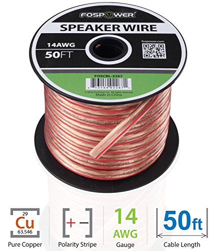 er Wire [14 Gauge | 50 FT] Premium Spooled Oxygen-Free Copper OFC Speaker Wire with Clear PVC Jacket & Polarity Stripe (50' 14 Awg Speaker Wire)