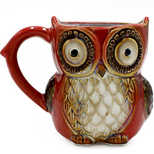 Teagas Cute Owl Coffee Mug 12 oz for Coffee Tea - Red Cute Owl Morning Coffee Ceramic Mug