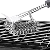 "CHbaby-Home Grill Brush Bristle Free - Stainless Steel Brush with 18"" Handle for Porcelain Ceramic Iron or Steel Grills - Built in Scraper and Rust Resistant"