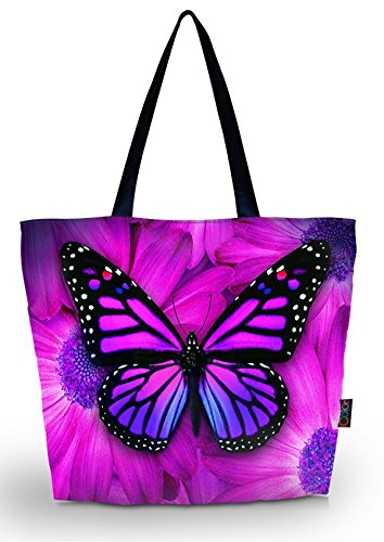 ICOLOR Big Butterfly Eco Friendly Reusable Eco-friendly Shopping Bag Handle case Bag School Shopping Large Grocery shoulder bag Reusable Portable Storage HandBags Convenient Shoppers Tote YGWB-45