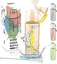 ZeChok 22oz Water Bottle with Straw Spray - Motivational Water Jugs, Fast Flow BPA Free for Fitness,Gym,School