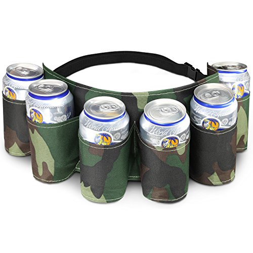 Beer Belt (Yes4All 6 Pack Beer Belt with Buckle – Camo Beer Holster Belt for Party, Picnic, Camping – Soda and Beer Can Belt (Camouflage))