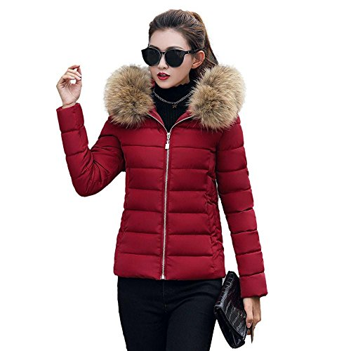 HGWXX7 Women's Fashion Solid Casual Faux Fur Collar Thicker Winter Slim Coat Overcoat Down Jackets(Wine Red,L)