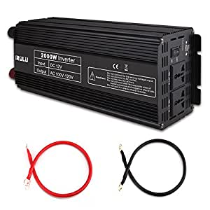 iRULU 2000W Microprocessor Power Inverter DC 12V to 110V AC Car Inverter With 2 AC Outlets 2A USB Car Adapter -Black