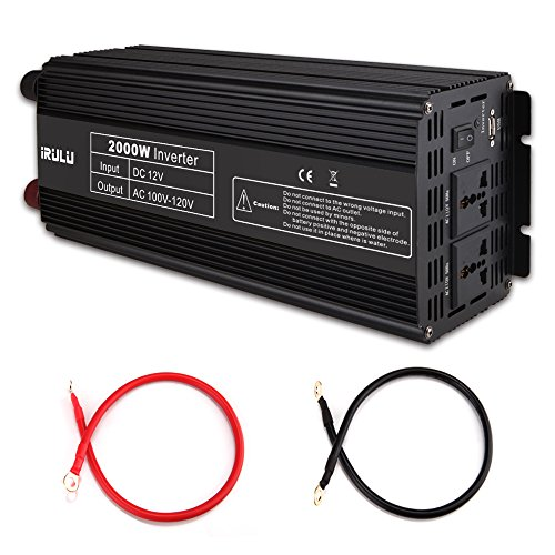 iRULU 2000W Microprocessor Power Inverter DC 12V to 110V AC Car Inverter with 2 AC Outlets 2A USB Car Adapter -Black by iRULU