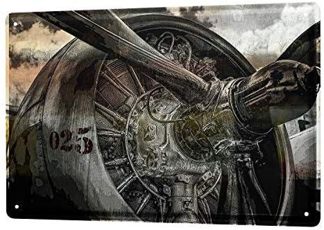 Plaque en m/étal D/écoration vintage 30,5 x 45,7 cm Mengliangpu8190 Plaque m/étallique en aluminium avec h/élice davion et turbine de la/éroport