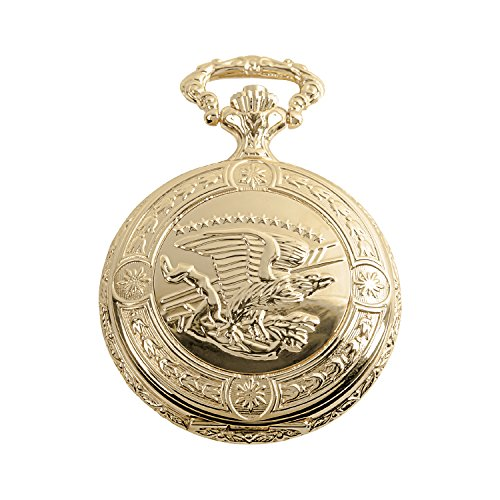 Daniel Steiger Flying Eagle Luxury Vintage Hunter Pocket Watch with Chain - Hand-Made Hunter Pocket Watch - 18k Gold Finish - Engraved Flying Eagle Design - White Dial with Black Roman Numerals ()