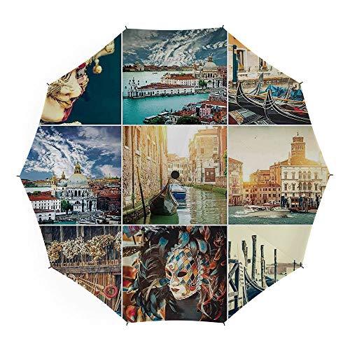 Folding Umbrella,Italian,Auto Open Close Umbrella 45 Inch,Designed Masks for Carnival of Venice Baroque Style Gondolas River Italy Landmark