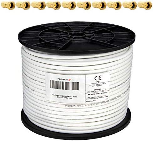 PremiumX 100m Koaxialkabel 135dB 4-Fach SAT Koax Kabel für DVB-S DVB-S2 DVB-C DVB-T BK Anlagen RG6 + 10x F-Stecker GRATIS DAZU