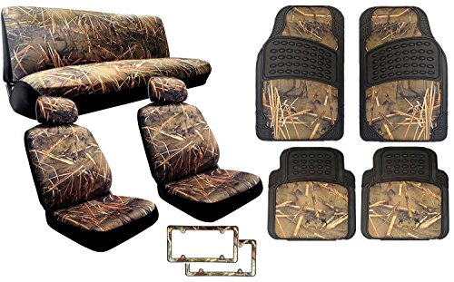 15 Piece Complete Muddy Water Forest Camouflage Interior Set for Car & Trucks - 2 Front Seats - Rear Bench - Premium 4pc Heavy Duty Floor Mat Set + 2x Camo License Plate Frames - Duck Hunting (Digital Camouflage Floor Mats compare prices)