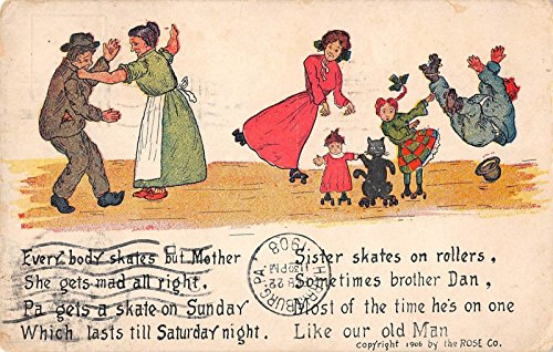 Family Roller Skating Poem Antique Postcard J23274