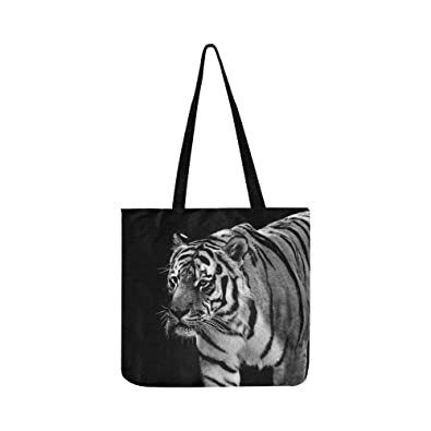 138e2aea43fa Amazon.com  Tiger Predator Fur Black And White Beautiful Canvas Tote ...
