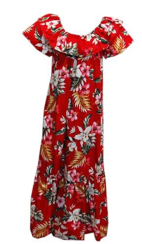 Long Muumuu - Jade Fashions Inc. Women Hawaiian Long Double Ruffle Red Orchid Muumuu-Red-3XL