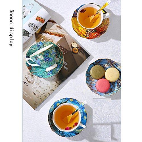 Vincent Van Gogh Bone China Tea Cup and Saucer Set With Gift Box, 8-Ounce Art Coffee Mugs Set (Set of 6) by Yosou Home (Image #3)