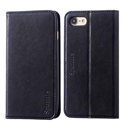 (iPhone 8 Wallet Case, iPhone 8 Flip Case, SPUNNIS [Series R69] iPhone 7 Leather Case with Stand [Slim] [Book Design] 3 Card Slot Flip Wallet Cover for Apple iPhone 7/8, Black)