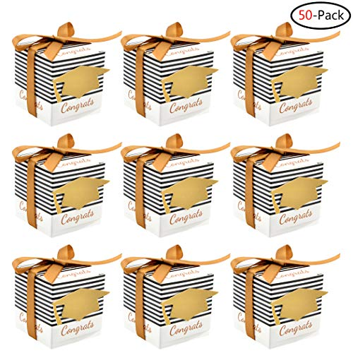Faylapa 50Pcs Graduation Gift Candy Boxes Graduation Party Supplies DIY Congrats Cap Stripes Cardboard Boxes with Ribbons for Graduation Ceremony Party Favors -