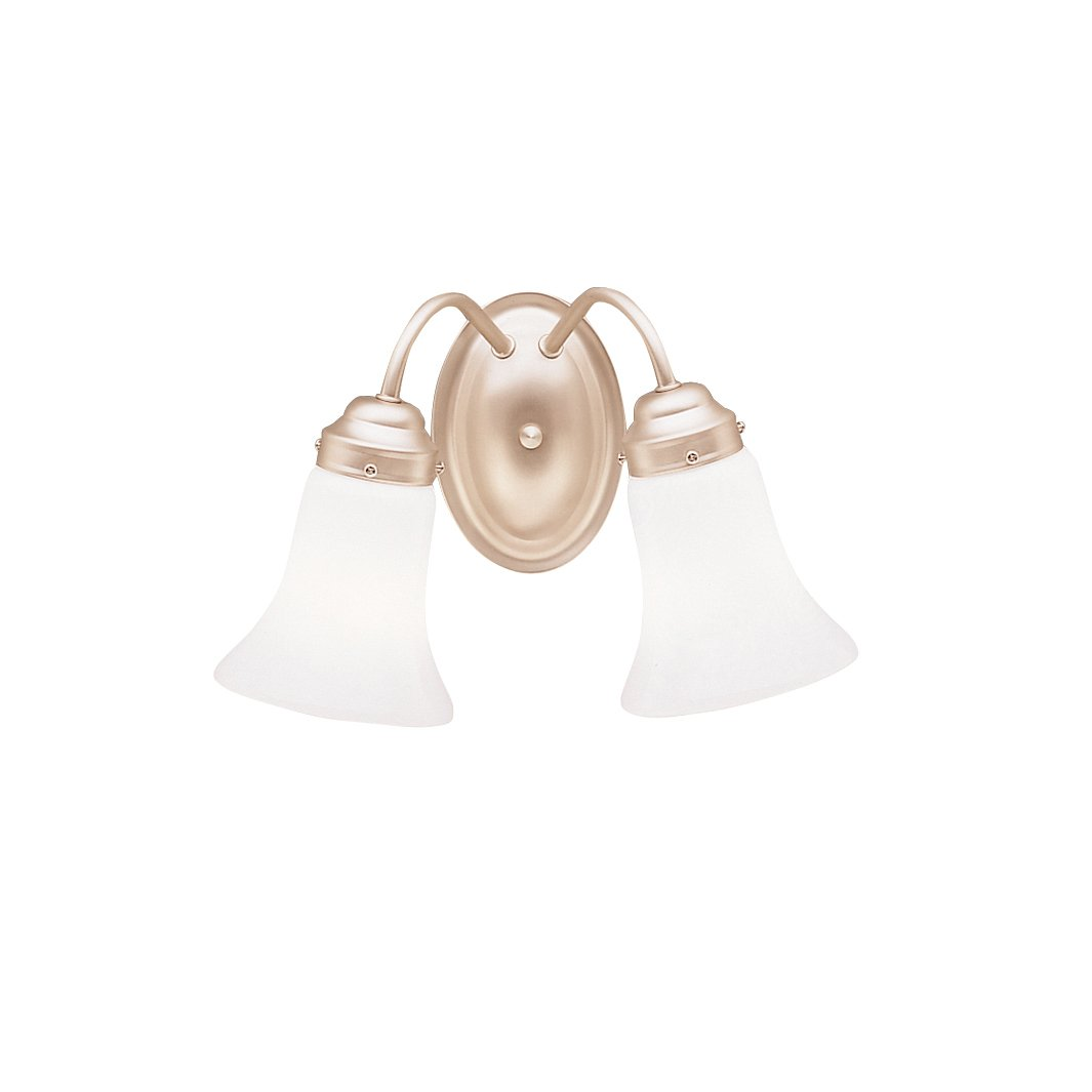 Brushed Nickel 100 Watts Kichler 6121NI Bath and Vanity Reversible Glass Wall Sconce Light
