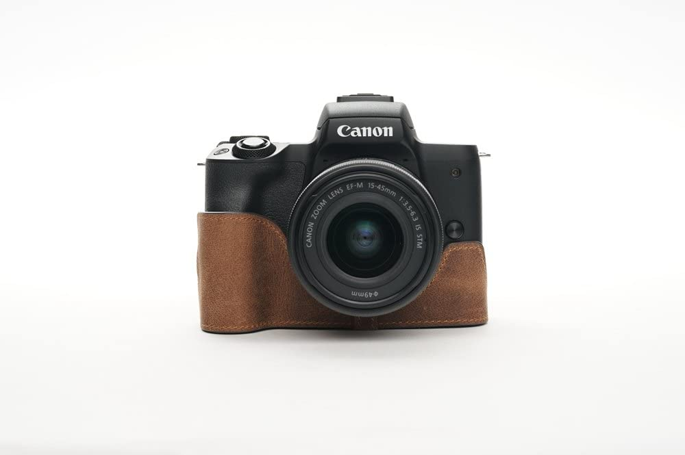 Handmade Genuine Real Leather Half Camera Case Bag Cover for Canon EOS M50 Tan color