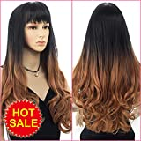 HRClever 1B/Brown Ombre Colour Synthetic Wigs for Women Long Natural Wavy Full High