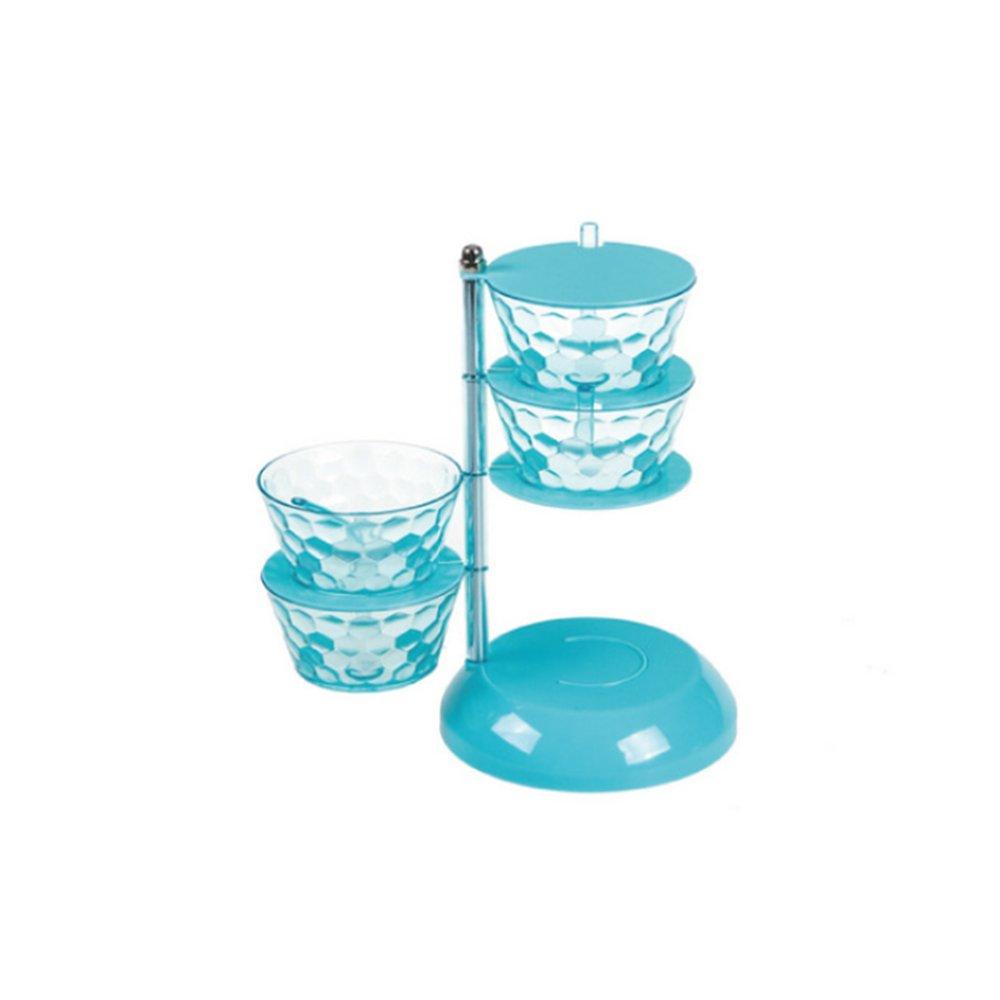 ZWFUN 4 Layer Crystal Creative Rotatable Seasoning Jar Spice Box Kitchen Salt Msg Box Storage Tank Vertical Suit (4 layers of light blue)
