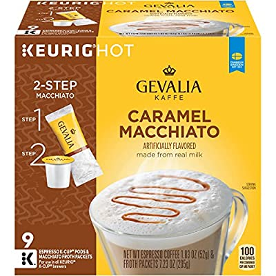 GEVALIA Caramel Macchiato, K-CUP Pods and Froth Packets, 9 Count (Pack Of 4)