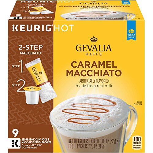 (Gevalia Caramel Macchiato K-Cup Pods and Froth Packets, 36 Count (4 Boxes of 9))
