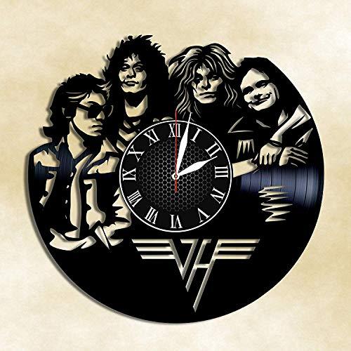 Van Halen Hard Rock Handmade Vinyl Record Wall Clock, Get Unique Bedroom or Nursery Wall Decor - Gift Ideas for Kids and Teens - Unique Art Design