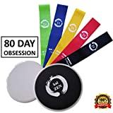 Cheap Kaizen Premium 80 Day Obsession Equipment Resistance Loop Bands and Core Sliders Set | Fitness Gear for Full Body Workout at Home | 100% Natural Latex Bands | Double-Sided Gliding Discs