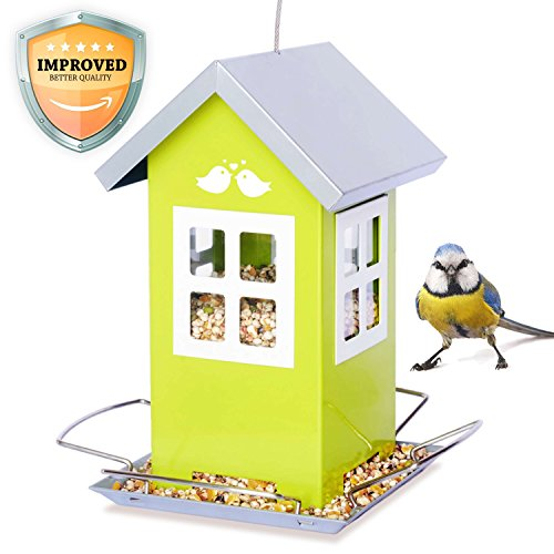 Bird Loveee Feeder House, Great Outdoor Garden Gift, Weatherproof Design, 4 Feeding Ports, Drains Rain Water to Keep Bird Seed - Feeder Birdhouse