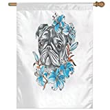 HUANGLING Cute Dog Face With Floral Arrangement With Beautiful Flowers Animal Fun Illustration Decorative Home Flag Garden Flag Demonstrations Flag Family Party Flag Match Flag 27''x37''