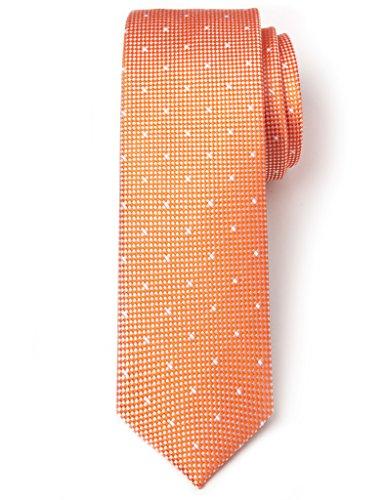 Origin Ties Square Polka Dots 100% Silk Men's Skinny Tie (Orange Silk Narrow Ties)