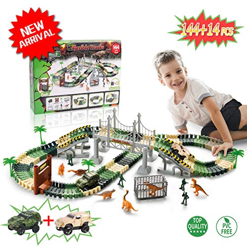 (TTOUADY Dinosaur Train Jurassic Park Toys, Dinosaur Toys Race Car Track Sets 158 Tracks 2 Cars 6 Dinosaurs, Awesome Gift for Kids, Learning Toys for 3 4 5 6 7 8 Years Old Boys and Girls (158))