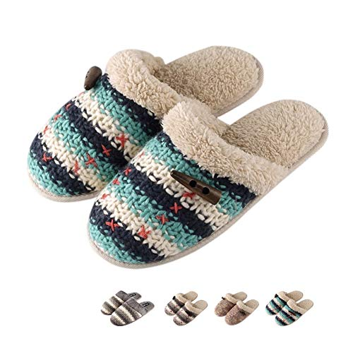 Warm Memory Slippers Foam On Home Clog Slippers House Fleece Wool Women Plush Slip Indoor Soft Leather Slippers Green Knit dTnwq7
