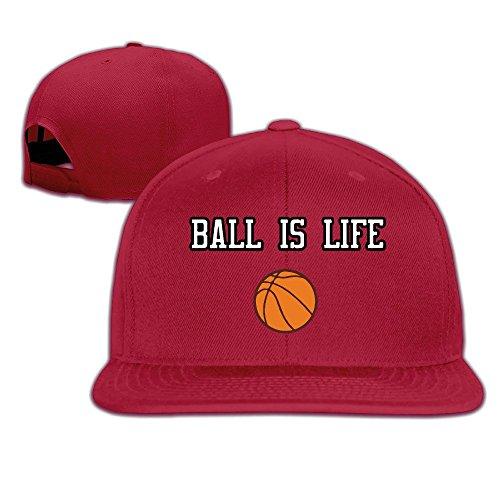 BASEE Ball Is Life Basketball Adjustable Flat Along Baseball Cap Red ()