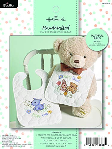 Bucilla Hallmark 48868E Stamped Cross Stitch Baby Bib Pair, 2 pc, Playful Pals