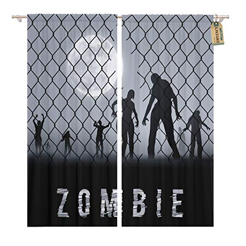 Golee Window Curtain Arrest Zombie Walking at Night Silhouettes for Halloween Businessman Home Decor Rod Pocket Drapes 2 Panels Curtain 104 x 96 inches